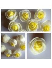 2121. 1 шт. Белый-желтый цвет. 2-х цветные головки роз 3 см.