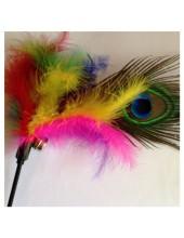690. 1 шт. Микс цвет. Игрушка из перьев птиц с колокольчиком