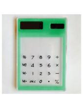 1 шт. Зеленый цвет. Калькулятор солнечный прозрачный