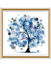"""Р-110. 5D Картина из страз. """"Зима дерево"""" 50х50 см"""