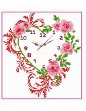 """В-701. 5D Картина из страз. """"Часы с розами"""" 60х60 см"""