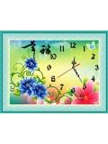 """В-702. 5D Картина из страз. """"Часы с цветами"""" 58х48 см"""