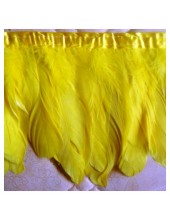 1 м. Желтый цвет. Тесьма. Перья петуха на ленте 14-19 см.