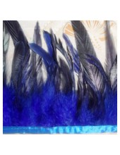 1 м. 2-х цветное. Синий цвет. Тесьма. Перья петуха на ленте 14-19 см