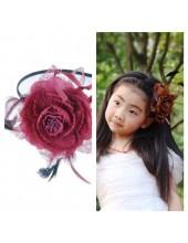 А-5. Бордо цвет. Ободок для волос с цветком.