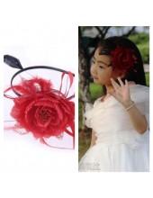 А-4. Красный цвет. Ободок для волос с цветком.