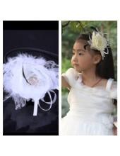 А-1. Белый цвет. Ободок для волос с цветком.