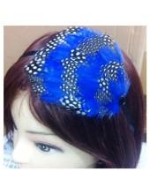 7722. Синий цвет. Ободки для волос с перьями птиц