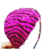 7724. Фуксия цвет. Ободки для волос с перьями птиц