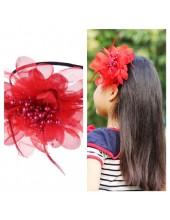Д-2. Красный цвет. Ободок с цветком для волос