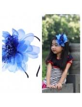 Д-3. Синий цвет. Ободок с цветком для волос