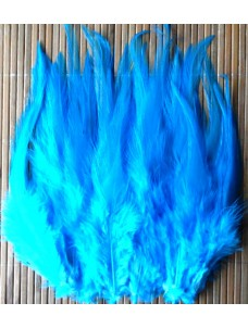 20 шт. Голубой цвет. Перья петуха. Цветное 12-16 см