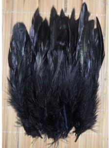 20 шт. Черный цвет. Перо петуха 2-х цветное 12-18 см
