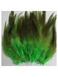 20 шт. Зелень цвет. Перья петуха 5-10 см. Цветные перья