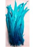 1 шт. Голубой цвет. Перья петуха 25-35 см. Цветное
