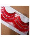 Ф-3. Красный цвет. Ресницы из перьев птицы