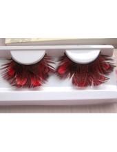 Ф-35. Красный цвет. Ресницы из перьев птиц