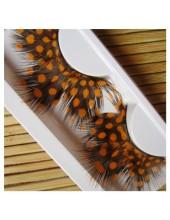Ф-58. Горошек оранжевый цвет. Ресницы из перьев птиц