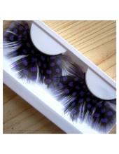 Ф-59. Горошек фиолетовый цвет. Ресницы из перьев птиц