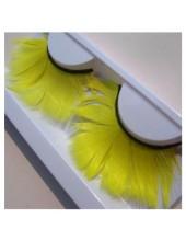 Ф-67. Желтый цвет. Ресницы из перьев птиц