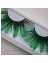 Ф-73.  Зеленый цвет. Ресницы из перьев птиц
