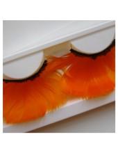 Ф-69. Оранжевый цвет. Ресницы из перьев птиц