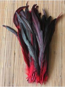 1 шт. Красный цвет. Перья петуха 25-35 см. 2-х цветное