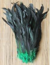 1 шт. Зеленый цвет. Перья петуха 25-35 см. 2-х цветное