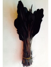 10 шт. Черный цвет. Перья петуха. Кисточка 12-17 см. Цветная