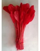 10 шт. Красный цвет. Перья петуха. Кисточка 12-17 см. Цветная
