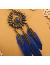 0914. Синий цвет. Подвеска с перьями птиц
