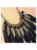 0903. Черный цвет. Подвеска из перьев птиц