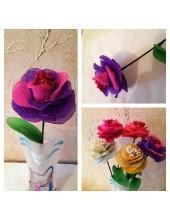 1001. 1 шт. Роза из цветного капрона