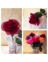 1010. 1 шт.  Роза из цветного капрона