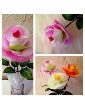 1006. 1 шт.  Роза из цветного капрона