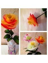 1007. 1 шт.  Роза из цветного капрона