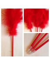 С-5. 1 шт. Красный цвет. Ручка из перьев боа