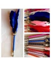 Х-6. Синий цвет. Ручка с перьями птиц