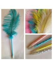 Д-4. Голубой цвет. Ручка с пером страуса