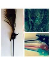А-2.  Черный цвет. Ручка с перьями павлина