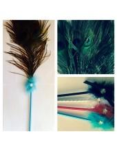 А-4. Голубой цвет. Ручка с перьями павлина