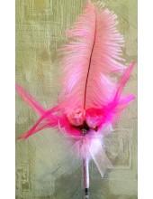 З-1. 1 шт. Розовый цвет. Ручка из пера страуса