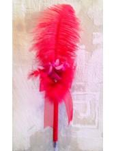 З-2. 1 шт. Красный цвет. Ручка из пера страуса