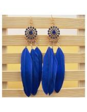 59. Синий цвет. Серьги из перьев птиц