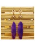 62. Фиолетовый цвет. Серьги из перьев птиц