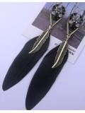 28. Черный цвет. Серьги из перьев птиц