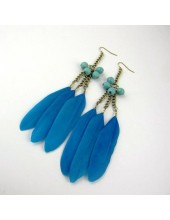 32. Голубой  цвет. Серьги из перьев птиц