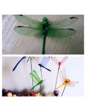 1 шт. Зеленый цвет. 3D Стрекозы на палочке 8 см. Для цветов и в торт