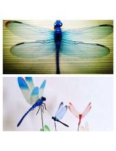 1 шт. Синий цвет. 3D Стрекозы на палочке 8 см. Для цветов и в торт