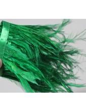 1 м. Зеленый цвет. Тесьма из перьев американского петуха 8-12 см.